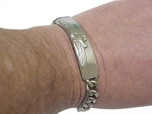 Other Vintage Mens Heavy Solid Sterling Silver Bracelet with Eagle, 1950's