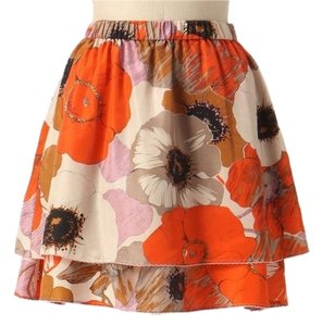 Anthropologie Silk Floral Tiered Odille Mini Skirt