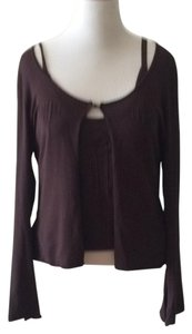 Max Studio Twinset Beaded Frog Metallic Top Brown