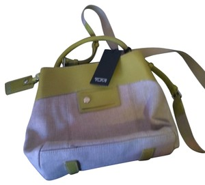 Tumi Bucket Canvas Leather Cross Body Bag