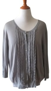 Ann Taylor Dove Scalloped Cardigan Plus Size Sweater