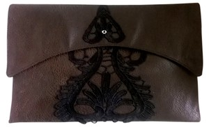 Lisa Nieves Faux Leather Applique Silver Hardware Chic chocolate brown / black Clutch