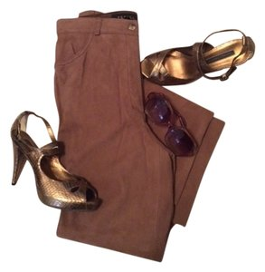 Escada Lambskin Nubuck Straight Leg Straight Pants Tawny Brown