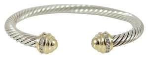 David Yurman David Yurman Sterling Silver 18K Yellow Gold .20tcw 5mm Gold Dome Diamond Princess Bracelet