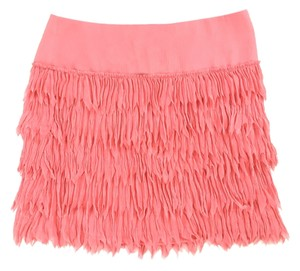Ann Taylor Crinkle Feather-like Plume Mini Skirt Coral