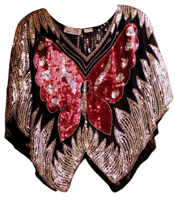 Item - Vintage Sequin Disco Butterfly Sequin Silk Silver Black Red Top