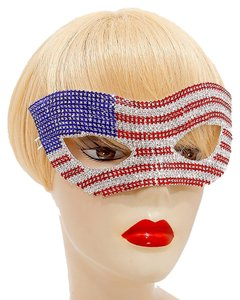 American Flag Rhinestone Crystal Cat Eyes Mask