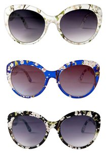 Highlights NWTags Floral White Blue or Black Frame Oversized Cateye Sunglasses