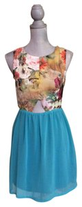 Other short dress Turquoise and floral Cotton Candy Cutout Size 6 Summer on Tradesy