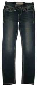 BKE 5 Pocket Style Zip Fly Low Rise Cotton/poly/spandex Addison Straight Leg Jeans-Dark Rinse