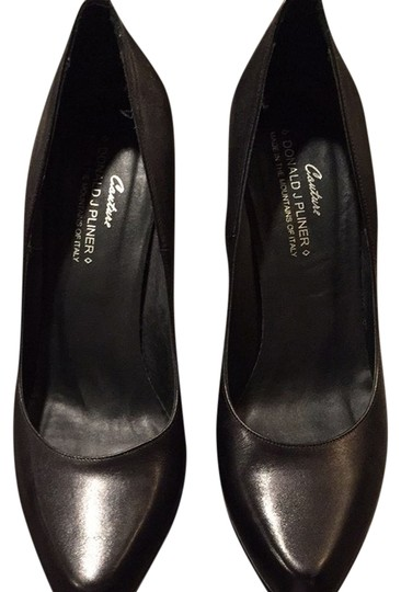Donald J. Pliner Black/black Snakeskin Pumps