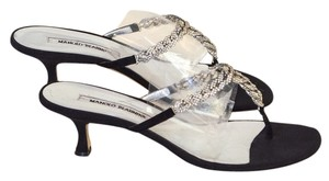 Manolo Blahnik Manolo Rhinestones Sandals black / silver Pumps