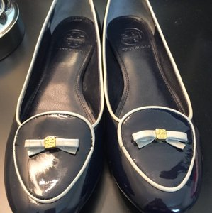 Tory Burch Navy with gray piping and bow Flats