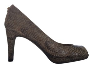 Stuart Weitzman Mushroom Snake Embossed Leather Pumps
