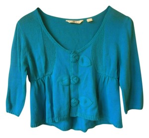 Anthropologie Turquoise Blue Embellished Cropped Cotton Cardigan