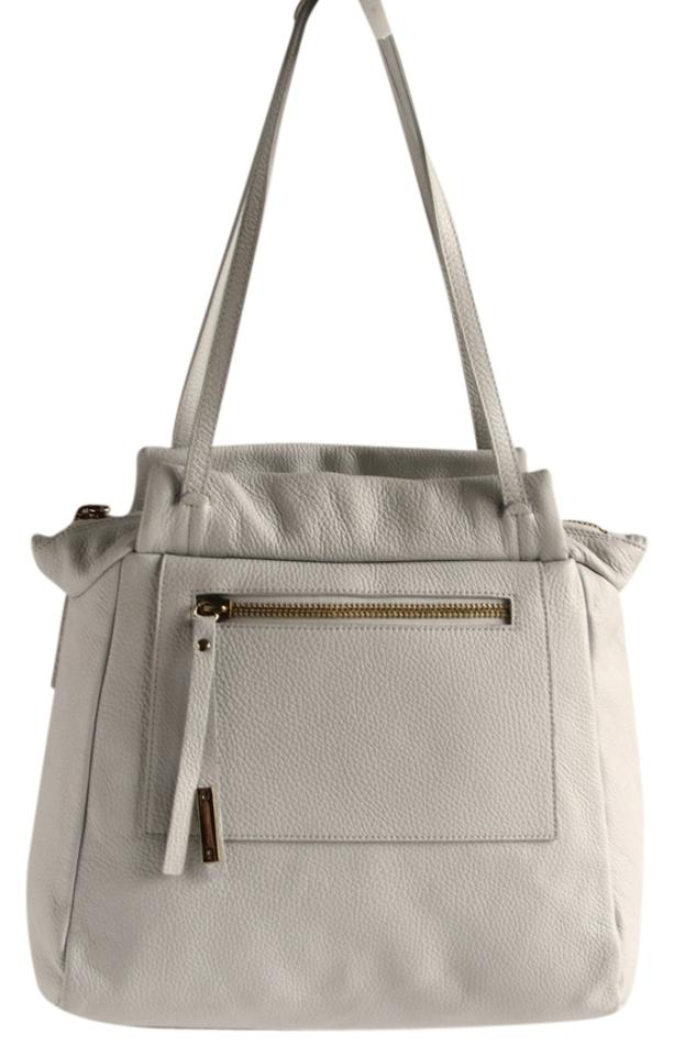 1b7e695ce NICOLI Tote Pale Gray Pebbled Leather Shoulder Bag - Tradesy