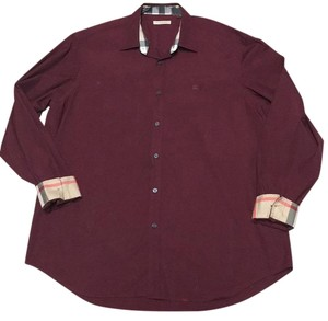 Burberry Brit Burberry Man Burberry Men Burberry Burberry Xl Dress Shirt Button Down Shirt Oxblood
