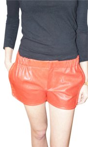 Thakoon Addition Leather Gym Lambskin Mini/Short Shorts Red