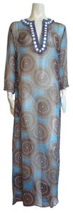 Aegean Blue/Ivory/Black Maxi Dress by Tory Burch Cftan 100%silk Poolside