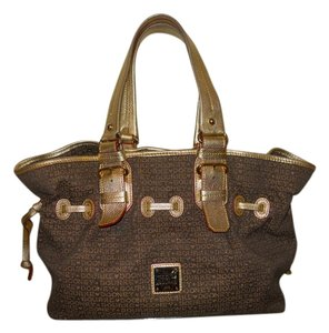 Dooney & Bourke Leather Canvas Metallic Tote in brown & gold