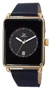 Joshua&Sons Joshua&Sons Classic Men's Japanese quartz rectangle date leather strap watch
