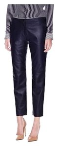 Theory Leather Pencil Boot Cut Pants Deep Navy/Black