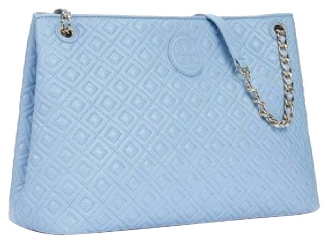 Item - Marion Quilted Center-zip Fairview Blue Leather Tote