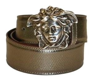 Versace Versace Belt Bronze/Brown Leather with Silver Medusa Logo