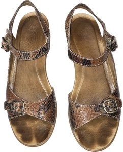 Dansko Wedge Comfort Walking Brown Snake Sandals