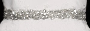 Rhinestone Beaded Wedding Dress Ribbon Belt Sash In Ivory