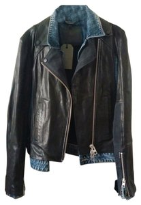 AllSaints All Leather Denim Biker Edgy Leather Jacket