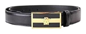 Versace Versace Belt Black Leather with Gold Medusa Logo