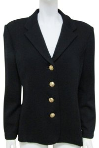 St. John Basics Santana Knit Gold Buttons Size 6 Black Jacket