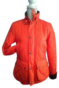 Polo Ralph Lauren Laure ORANGE QUILTED W BROWN CORDUROY COLLAR Jacket