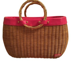 Lilly Pulitzer Tote in Wicker with pink trim