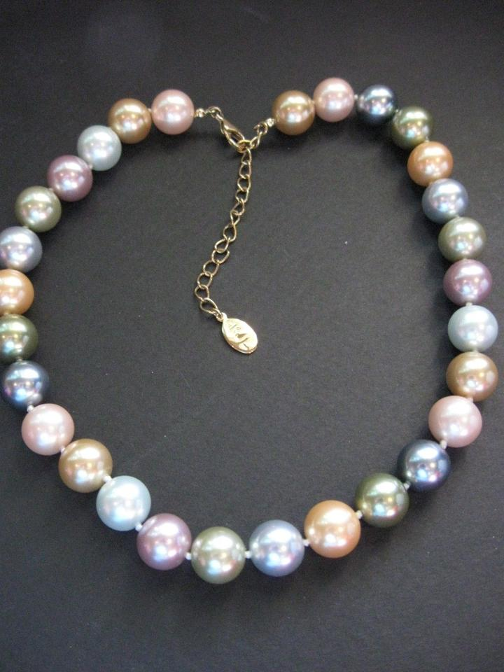 Kenneth Jay Lane Mib Simulated Multi Color Pearl Necklace