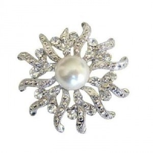 Silver Ivory Sparkling Round Cubic Zircon Pearls Victorian Brooch/Pin