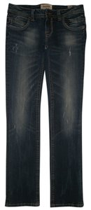 MEK DNM Zip Back Pockets Zip Fly Straight Leg Jeans-Dark Rinse