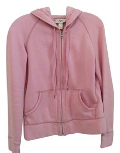 Ann Taylor LOFT Pink Hooded Hoodie Zip Up Jacket