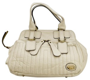 Chloé Chloe Leather Bay Cream Shoulder Bag