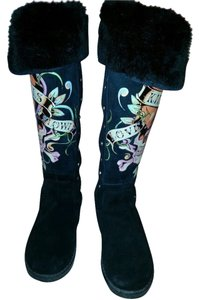 Ed Hardy Leather Suede Fur Lined Black Boots