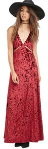 BURGUNDY Maxi Dress by Forever 21 Broken Velvet Crushed Velvet
