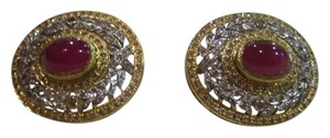 BUCCELLATI VINTAGE BUCCELLATI 18KT YELLOW AND WHITE GOLD DIAMOND RUBY EARRINGS