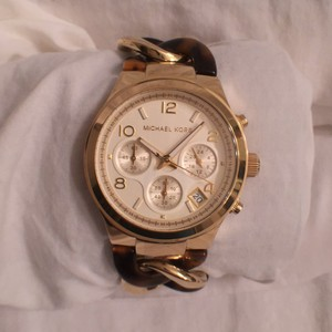 Michael Kors NEW! GOLD, TORTOISE TWISTED CHAIN CHRONOGRAPH, DATE