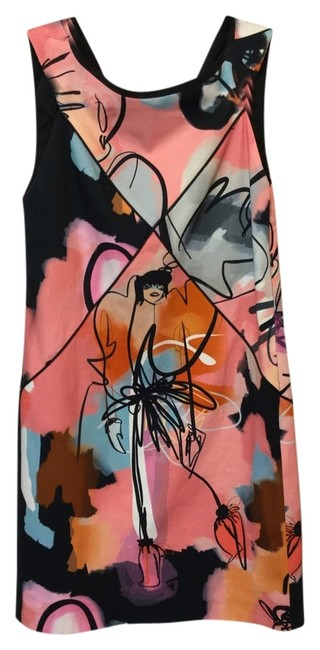 Item - Pink Girls Illustrated Canvas Shift Above Knee Cocktail Dress Size 2 (XS)