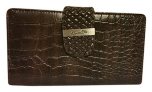 Burton Monogram Leather Woven Brown Clutch