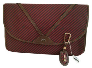 Gucci Vintage Leather Striped Brown Clutch