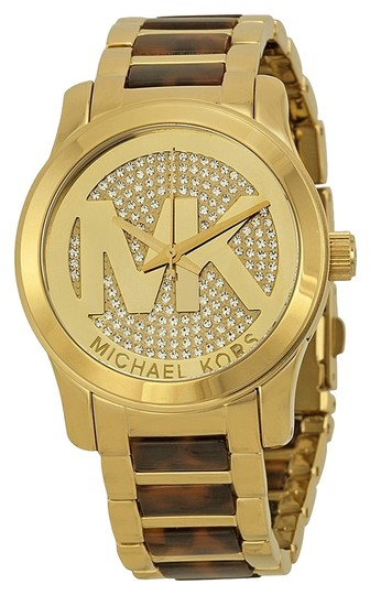 Michael Kors Michael Kors Champagne Dial Gold-tone and Tortoise-shell Ladies Watch