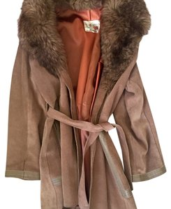 Vintage English brown suede leather jacket with lamb fur and leather belt. Excellent condition for vintage! S/M Brown Leather Jacket