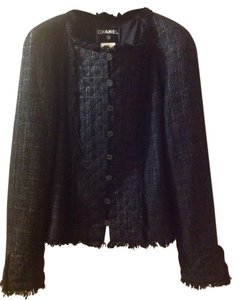 "Chanel Made In France Waist: 34"" Pit To Pit: 38""-39"" Shoulder/Cuff: 26"" Across Back: 14"" Black Jacket"